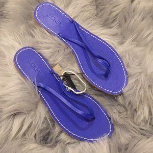 NWT J.Crew blue leather upper flip flops